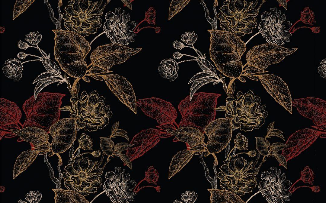 Tapeta w złote i czerwone róze